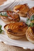 Caramelized Onions And Parsley Close-up. Vertical
