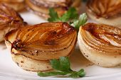 Caramelized Onions In Balsamic Vinegar On Plate Macro.