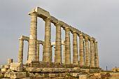 Sanctuary and temple of Poseidon at cape sounio, Attica, near Athens city at Greece