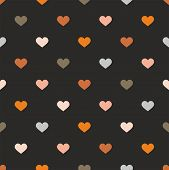 Tile vector pattern with pastel hearts on black background