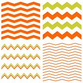 Tile spring vector pattern with white, orange and green zig zag print background