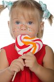 Little Charming Girl With Colored Lollipop