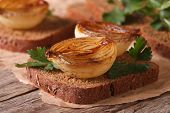 Sandwich With Caramelized Onions And Parsley Closeup Horizontal