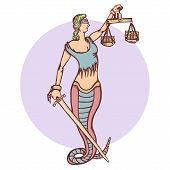 Isolated cartoon evil snake lady justice