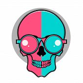 Isolated cartoon red and blue skull