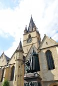 foto of sibiu  - Sibiu city Romania Lutheran Cathedral architecture and statue - JPG