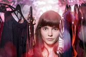 foto of thrift store  - teenage girl is dreaming of new clothes - JPG
