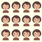 picture of cartoon character  - cartoon vector face emotion - JPG