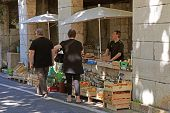 Local Farmer Market In Saint Paul De Vence, Provence, France.