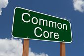 image of common  - Common Core Sign Green highway sign with words Common Core with sky background - JPG