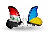 Two Butterflies With Flags On Wings As Symbol Of Relations Syria And Ukraine
