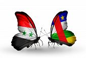 Two Butterflies With Flags On Wings As Symbol Of Relations Syria And Central African Republic