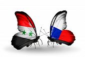 Two Butterflies With Flags On Wings As Symbol Of Relations Syria And Czech
