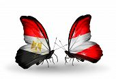 Two Butterflies With Flags On Wings As Symbol Of Relations Egypt And Austria
