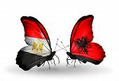 Two Butterflies With Flags On Wings As Symbol Of Relations Egypt And Albania