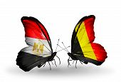 Two Butterflies With Flags On Wings As Symbol Of Relations Egypt And Belgium