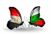 Two Butterflies With Flags On Wings As Symbol Of Relations Egypt And Bulgaria