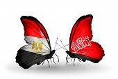 Two Butterflies With Flags On Wings As Symbol Of Relations Egypt And Waziristan