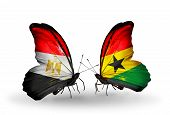 Two Butterflies With Flags On Wings As Symbol Of Relations Egypt And Ghana