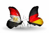 Two Butterflies With Flags On Wings As Symbol Of Relations Egypt And Germany