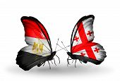 Two Butterflies With Flags On Wings As Symbol Of Relations Egypt And Georgia
