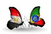Two Butterflies With Flags On Wings As Symbol Of Relations Egypt And Ethiopia