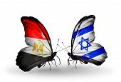 Two Butterflies With Flags On Wings As Symbol Of Relations Egypt And Israel