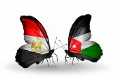 Two Butterflies With Flags On Wings As Symbol Of Relations Egypt And  Jordan