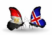 Two Butterflies With Flags On Wings As Symbol Of Relations Egypt And Iceland