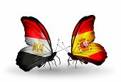 Two Butterflies With Flags On Wings As Symbol Of Relations Egypt And Spain