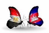 Two Butterflies With Flags On Wings As Symbol Of Relations Egypt And Cambodia