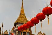 Lampions at Wat Traimit temple in Chinatown, Bangkok, Thailand