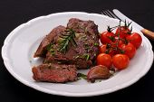 Rib Eye Steak, Cherry Tomatoes, Garlic, Herbs