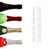 Four Colorful Champagne Bottles With Writing Space