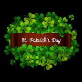 Saint Patricks Day Card, Ribbon On Realistic Shamrock Leaves