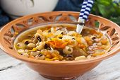 thick soup with beans and vegetables