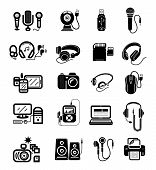 Постер, плакат: Digital devices in black colour icons set