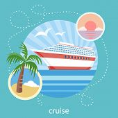 Cruise ship and clear blue water. Water tourism.