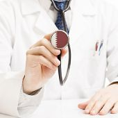 Doctor Holding Stethoscope With Flag Series - Qatar