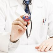 Doctor Holding Stethoscope With Flag Series - Slovakia