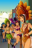 Dancing People In A Street Carnival