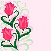 Greeting card with tulips flowers