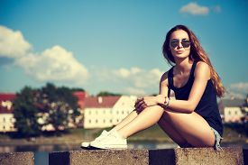 picture of independent woman  - Trendy Hipster Girl Relaxing in the Park - JPG