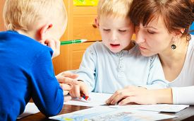 picture of daycare  - Family children and happy people concept - JPG
