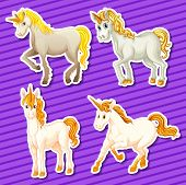 stock photo of unicorn  - Set of white unicorn in different positions - JPG