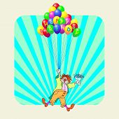 picture of clown face  - birthday greeting card with clown vector illustration - JPG