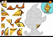 picture of game-fish  - Cartoon Illustration of Education Jigsaw Puzzle Game for Preschool Children with Funny Gold Fish Animal Character - JPG