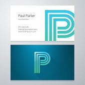 pic of letter p  - Design icon letter P Business card template - JPG