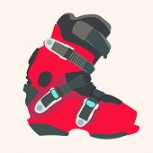 pic of ski boots  - Snowboard carving boot in red color  - JPG