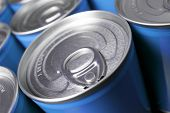 picture of hermetic  - Closeup of a group of aluminium cans - JPG